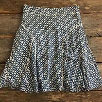 Fossil Size 6 White Blue Lined Skirt Cotton Silk Blend Lightweight Casual Photo