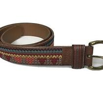 Fossil Size L Brown Leather Boho Embroidered Striped Brass Tone Hardware Belt Photo