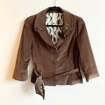 Fossil Size M Brown Velvet 3/4 Sleeve Ornate Button Belted Jacket Blazer Photo