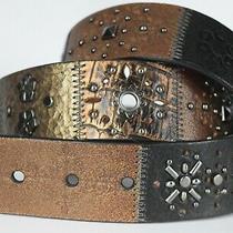 Fossil Size M Patchwork Studded Embellished Belt Boho Black Brown Leather  Photo