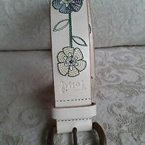 Fossil Size S Spring Garden Cream Leather Belt Embroidered Pink Blue Flowers 32