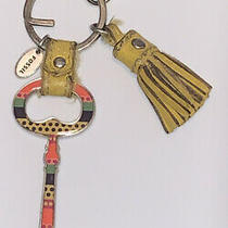 Fossil Skeleton Key Keychain Ring Clip Tag Yellow Leather Tassel Silver Metal Photo
