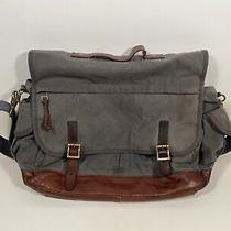 Fossil Slate Blue Canvas Brown Leather Trim Messenger Style Laptop Bag  Photo