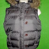 Fossil Sleeveless Jacket Vest Size M Puffer Down Gray Detachable Hood Zip Photo