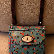 Fossil Small Blue Orange Geometric Design Canvas Crossbody Travel Shoulder Bag Photo