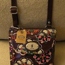 Fossil Small Brown Green Pink Orange Floral Canvas Crossbody Sling Shoulder Bag Photo