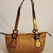 Fossil Small Copper & Gold Woven Straw & Leather Shoulder Purse Handbag Photo
