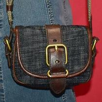 Fossil Small Emory Dark Blue Woven Fabric Flap Brown Leather Crossbody Purse Bag Photo