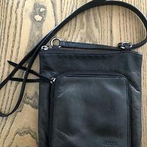 Fossil Small Genuine Leather Flap Organizer Crossbody Bag Black Photo