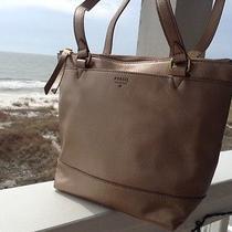 Fossil Small Gift  Shopper Leather Tote Pale Rose Metallic Handbag 188 - Photo