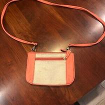 Fossil Small Leather Peach/pink Tan Straw Texture Bag Crossover Purse Euc Photo