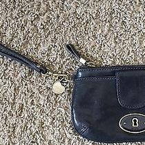Fossil Small Leather Wristlet Navy Blue Leather Photo