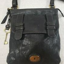 Fossil Small Long Live Vintage Black Leather Shoulder Crossbody Messenger Bag  Photo