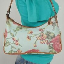 Fossil Small Med Multicolor Canvas Leather Shoulder Hobo Tote Satchel Purse Bag Photo
