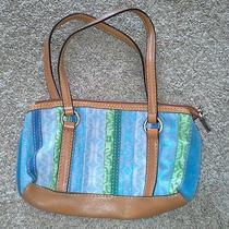 Fossil Small Multi Color Stripe Handbag Bag Purse Photo
