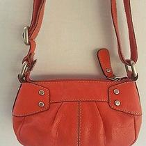 Fossil Small Orange Leather Crossbody Shoulder Bag Purse Silver Tone Hardware Photo