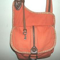 Fossil Small Orange Messenger Cross-Body Shoulder Bag With Brown Leather Trim Ec Photo