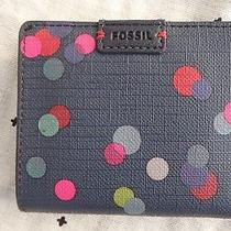 Fossil Small Steel Blue Wallet With Coloured Spots Nwot Photo