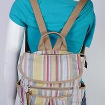 Fossil Small to Med Multicolor Canvas Backpack Shoulder Tote Satchel Purse Bag Photo