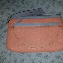 Fossil Sofia Clutch Papaya/peach Grey Wristlet Wallet Bag Leather Pebbled New  Photo