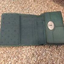 Fossil Soft Blue Leather Clutch Wallet Maddox Tri-Fold Photo