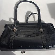 Fossil Soft Crocodile Leather Large Purse Black Satchel Bag  Photo