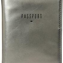 Fossil Soft Leather Rfid Medium Passport Bi-Fold Case Silver Black New Photo