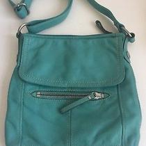 Fossil Soft Pebbled Leather Large Slouch Hobo Shoulder Crossbody Purse Teal  Photo