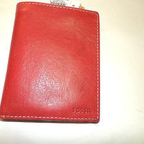 Fossil Solid Passport in Brick Red Leather  Nwt Photo