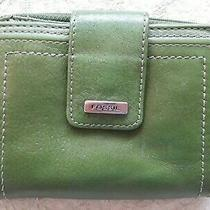 Fossil Spruce Green Leather Small Zip Around Wallet Double Compartments Classic  Photo
