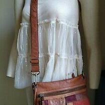Fossil Square Shoulder Crossbody Brown W/ Patches Photo