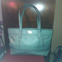 Fossil Stanton Satchel Top Zip Aqua Blue Leather Repaired Defect Nwot Photo