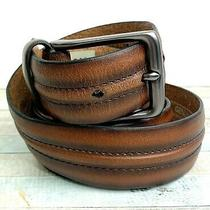 Fossil Stitch Brown Genuine Leather Silver Tone Buckle Casual Men's Belt 40 (X23 Photo