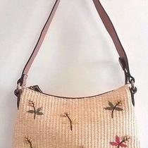 Fossil Straw and Leather Floral Print Small Bag Photo
