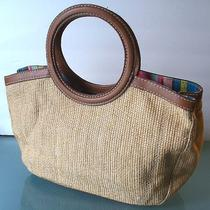 Fossil Straw and Leather Summer Tote Bag Photo