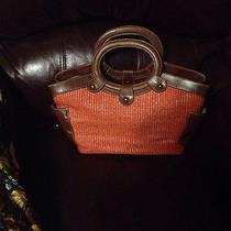 Fossil Straw Handbag in Bright Orange Color Preowned Condition Photo
