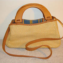 Fossil Straw Handbag / Shoulderbag With Wooden Handle Photo