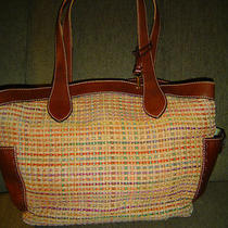 Fossil Straw/jute/hemp/crochet & Leather Purse Multi-Color Shoulder Bag Large  Photo