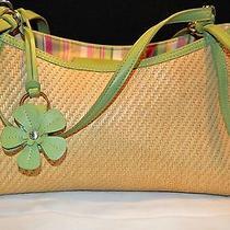 Fossil Straw & Light Green Leather Trim & Straps & Flower Hangtag Tote Handbag Photo