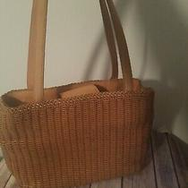 Fossil Straw Wicker Basket Tote Handbag Purse Photo