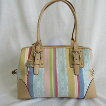 Fossil Stripe Signature Two Handle Tote Satchel Bag  Photo