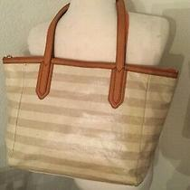 Fossil Stripe Tan  Coated Canvas Brown Leather Tote Large Zip Shopper Bag Photo