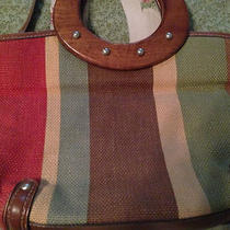 Fossil Striped Bag With Wood Handles Photo