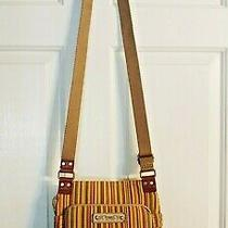 Fossil Striped Canvas Crossbody Purse Medium Earthtones Messenger Bag Boho Vgc Photo