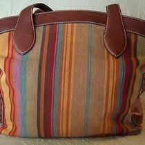 Fossil Striped Canvas Leather Xtra Large Tote Beach Day Travel Bag Shoulder   Photo