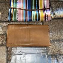 Fossil Striped Soft Leather Bi-Fold Snap Wallet Color Rainbow Pastels Nice Photo