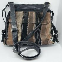 Fossil Suede Leather Patchwork Stripes Crossbody Messenger Handbag Adjustable Photo