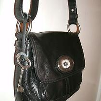 Fossil Super Nice Small Rugged Black Pebbled Leather Messenger Cross-Body Euc Photo