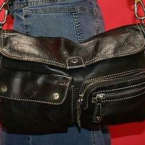 Fossil Sutter Black Leather Cross-Body Shoulder Zip Pockets Organizer Purse Bag Photo