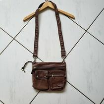 Fossil Sutter Brown Pebbled Leather Crossbody Purse Zip Pockets Convertible Guc Photo